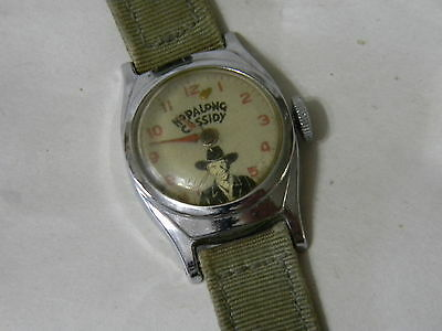 1950's Hop Along Cassidy Magazine Ad Mail In Wrist Watch  U.S. Time - Nylon Band