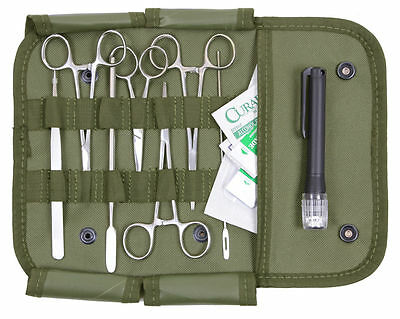 OD Olive Drab Surgical Suture Kit W/Instruments w/Pouch Bug Out Survivalist Emt