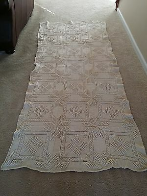 "Vintage Antique Coverlet/Throw crochet lace handmade Popcorn Pattern 97.5"" x 41"""