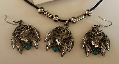 Pewter Wolf Dreamcatcher Pendant with FW (hook) Earrings