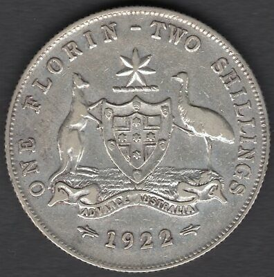 1922  AUSTRALIAN TWO SHILLING (FLORIN) COIN - aVF CONDITION