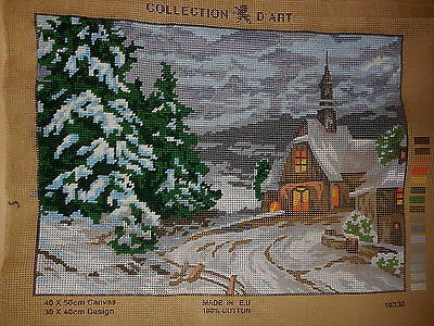 Tapestry Canvas Collection D' Art 10330 Winter Scene & Church 40 X 50 Cm