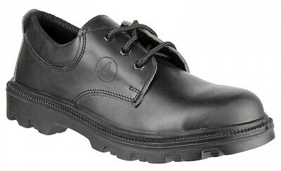 Mens Police Safety Trainers Shoes S3 Steel Toe Cap Black Leather Amblers
