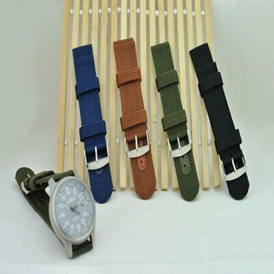 18/20/22/24mm Watch Strap Band Fashion Military Army Nylon Fabric Canva Wrist