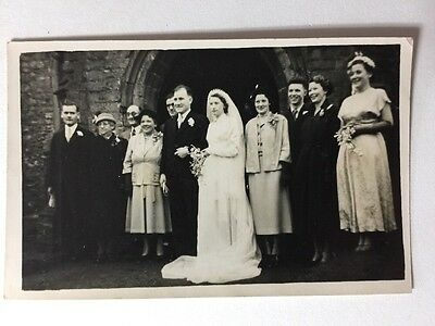 Vintage Real Photograph #AD - Wedding Group - 1954 Named BIRD - 2 of 3