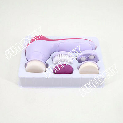5 in 1 Electric Spin Face Body Cleansing Brush Massager Cleaner Set NEW