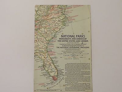 "Vintage March 1958 National Geographic Map ""National Parks"" United States Canada"