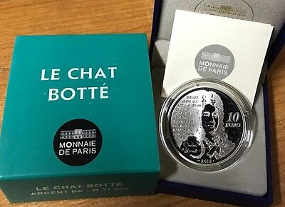 France 2012 LE CHAT BOTTE 10 euros Silver Proof Francia silber argent gato botas