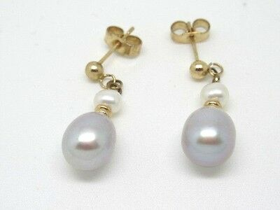 Pair Of 9Ct Gold Freshwater Pearl Drop Earrings, Nice!!