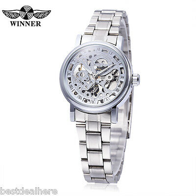 Winner F120524 Female Auto Mechanical Watch Luminous Pointer Hollow-out Back Cov