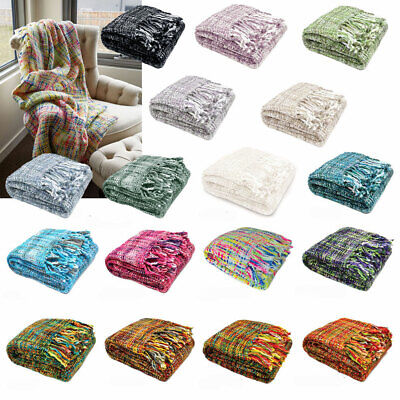 OSLO Knitted Weave Lounge Sofa Throw Bed Runner Blanket Rug 127 x 152cm