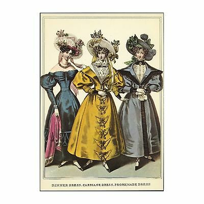 Fashion Magazine Illustration 1830 Regency Era Ladies Dress Style Postcard Repro