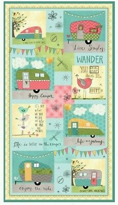 On The Road Again Quilt Panel * Caravans * In Stock * Free Post *