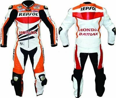 Honda Repsol Motorbike Cowhide Leather Racing Suit Ce Armor With Hump All Sizes