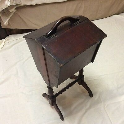 Antique Sewing Stand With Dual Flip Tops