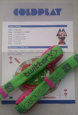 COLDPLAY 2012 Mylo Xyloto Tour Interactive Wristbands x 2