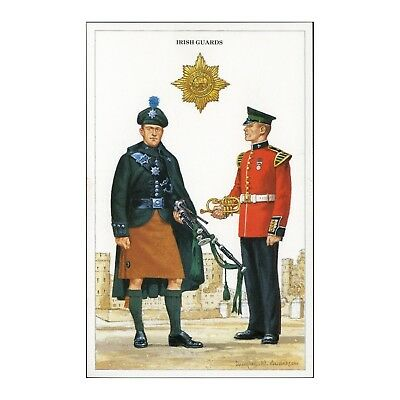 IRISH GUARDS - PIPER and MUSICIAN QUEENS GUARDS, BRITISH ARMY UNIFORMS POSTCARD