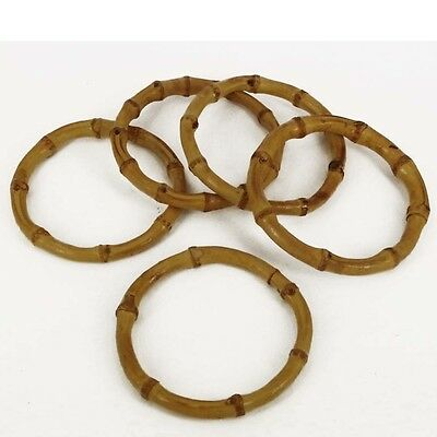 "Natural Small Real Bamboo Bag Handles (1 pair) 4"" Circular Small BH36/s"