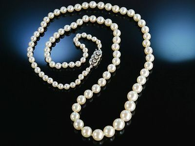 Antike Akoya Zucht Perlen Kette Gold 750 Diamanten 1930 Art Deco Pearl Necklace