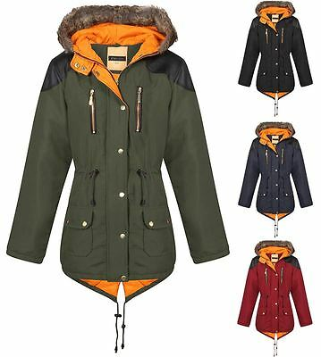 New Unisex Kids Boys Girls Quilted Fishtail Parka Contrast Inner Jacket