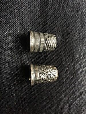 Two Lovely Antique Silver Thimbles Including Charles Horner