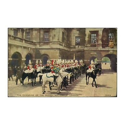 HORSE GUARDS CHANGING GUARD WHITEHALL VALENTINE'S VALESQUE POSTCARD POSTED 1950s