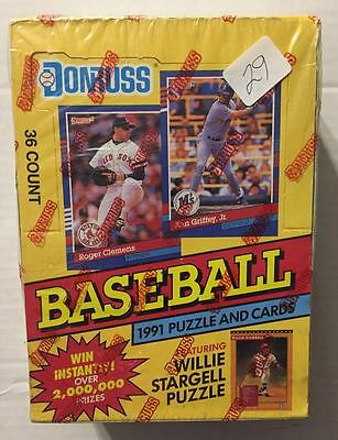 "1991 Donruss Factory Sealed Wax Box (Mint) With ""rookie"" Baseball Cards -R/c #29"