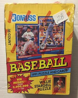 "1991 Donruss Factory Sealed Wax Box (Mint) With ""rookie"" Baseball Cards -R/c #28"