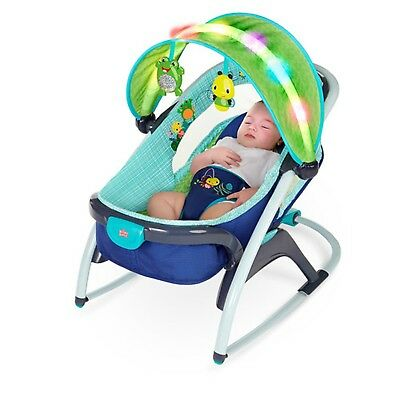 Baby Bouncer Chair Bright Starts Light Up Lagoon 2 in 1 Delight & Dream Rocker