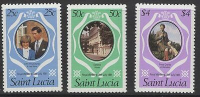 ST.LUCIA SG576/8 1981 ROYAL WEDDING p12 CHANGED COLOURS MNH