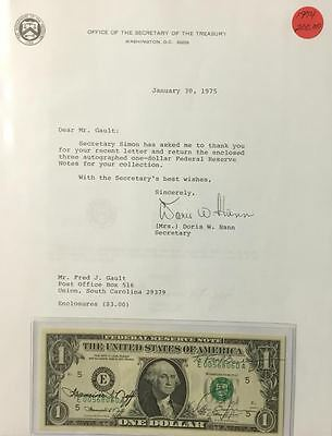 "1974 Autographed $1 Federal Reserve Note By The Treasurer & Secretary ""crisp"""