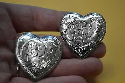 """2 FLEMING Sterling Silver Heart Shaped Fancy Rodeo Show Conchos 1 1/2"""" ENGRAVED"""