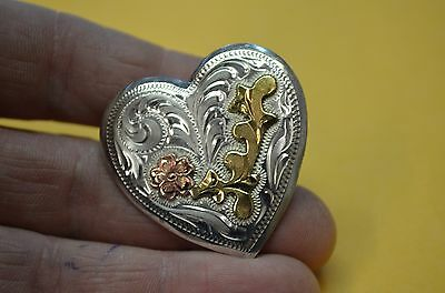 "FANCY STERLING Tri Color Heart Shaped Rodeo Show CONCHO 1 1/2"" FLORAL DESIGN"