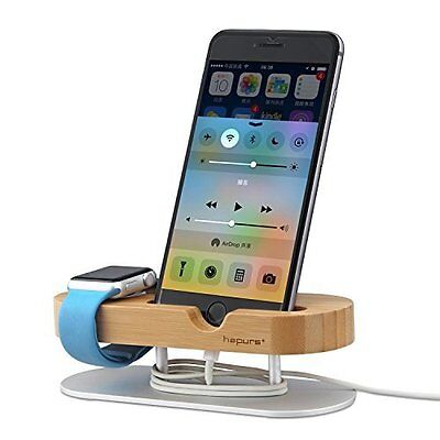Apple Watch Bamboo Stand With Aluminum Alloy Base And Charging Dock Station