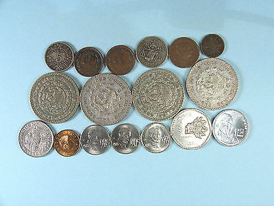 17 assorted coins from Mexico