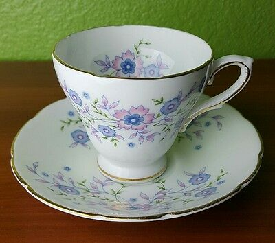 Vintage AVON Blue Blossoms Teacup Fine Bone China 1974 Cup and Saucer ENGLAND