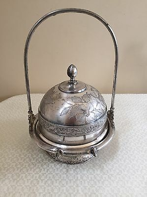 Antique Meriden Floral Silverplate Covered Butter Dish No Mono