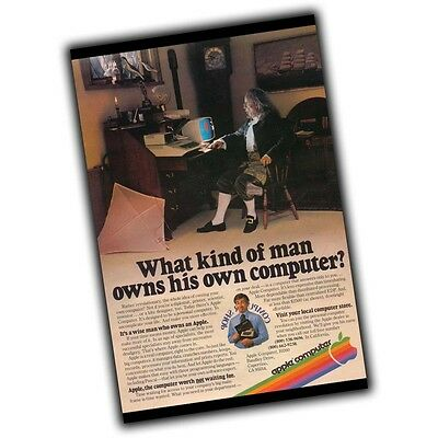 Vintage Apple Computer A Wise man Owns A Computer Advertisement 4x6 Inch Magnet