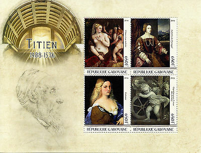 Gabon 2016 MNH Titian Titien 4v M/S Art Paintings Stamps