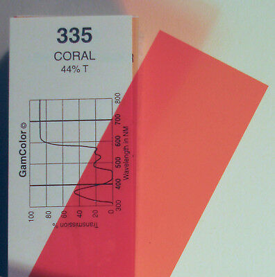 GAM  #335 Coral (Extra CTO)  gel color media filter sheet