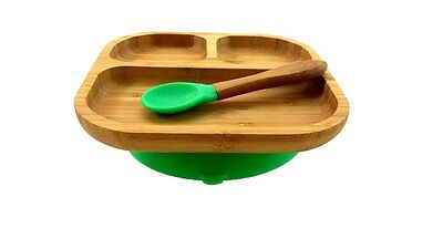 Kiddy / Toddler Bamboo Silicone Suction Dish / Plate Set with Spoon light green