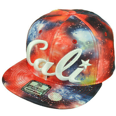 39fae9a09d3 Cali California All Over Cosmos Galaxy Space Red Blue Cap Hat Nylon Snapback