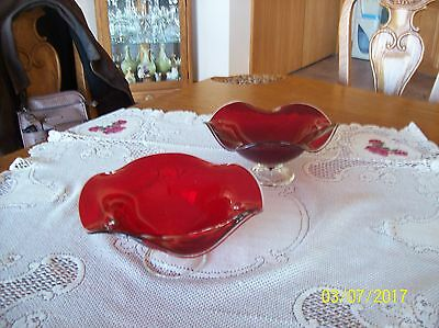 Ruby Red Large 2 Vintage Blown Art Glass Footed Compote Ruffed Elegant Bowls