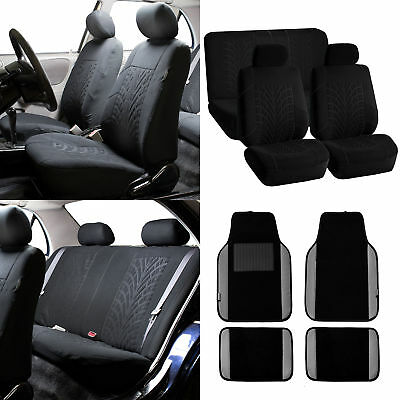 Seat Covers for Auto Black with Gray Leather Trim Carpet Floor Mats