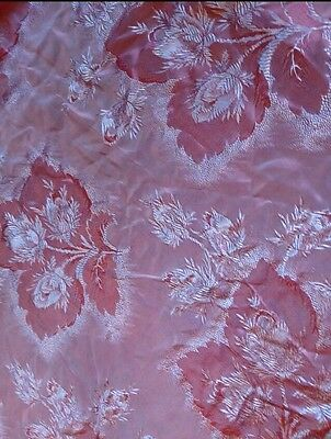 Antique 1920s Large Damask Silk Bedspread Coverlet Tablecloth - PINK