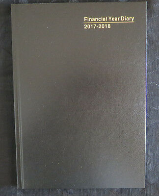 Diary Financial Year OLDER 2017/18 (not 18/19) A4 Week View Black Hardcover