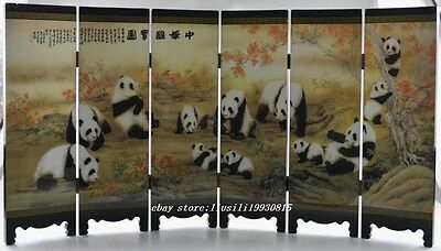 Ollectible China Old Handwork Wood Painted Lovely Panda Folding Screen