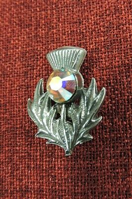 Scotch Thistle Outlander Brooch Pin Celtic Crystal Scotland Iona Silver Pewter