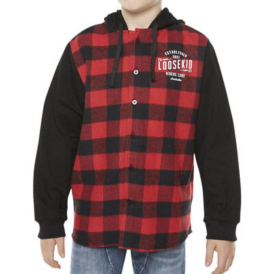 NEW Loosekid Youth Savage Red LSKD Hood Motocross LKI Kids Hooded Flanno Shirt