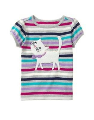 GYMBOREE BACK TO BLOOMS MULTI COLOR STRIPED w// CAT S//S TEE 12 18 24 NWT